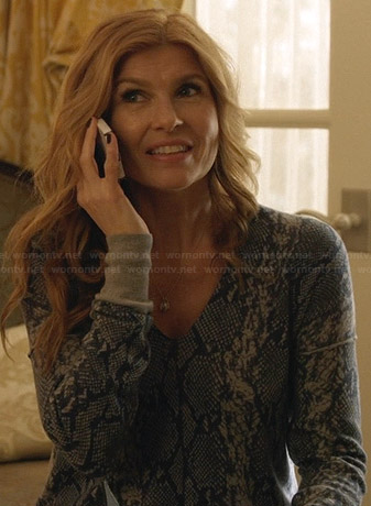 Rayna's blue snake print sweater on Nashville