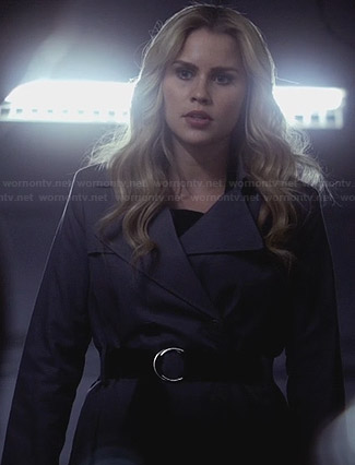 Rebekah's grey belted trench coat on The Originals