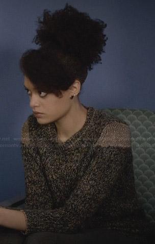 Remy's metallic shoulder sweater on Ravenswood