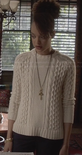 Remy's white cable knit sweater on Ravenswood