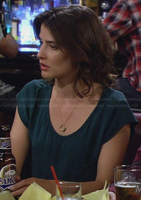 Robin's teal scoop neck top on How I Met Your Mother
