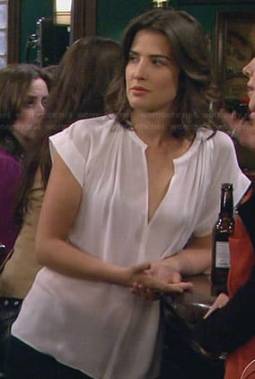 Robin's white split neck blouse on How I Met Your Mother