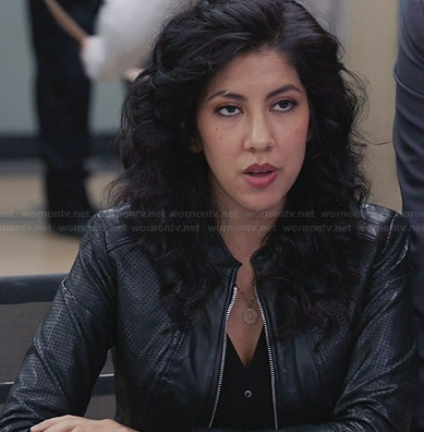 Rosa's perforated leather zip front jacket on Brooklyn 99