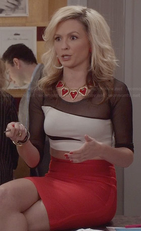 Samantha's white and black mesh crop top and red skirt on The Carrie Diaries