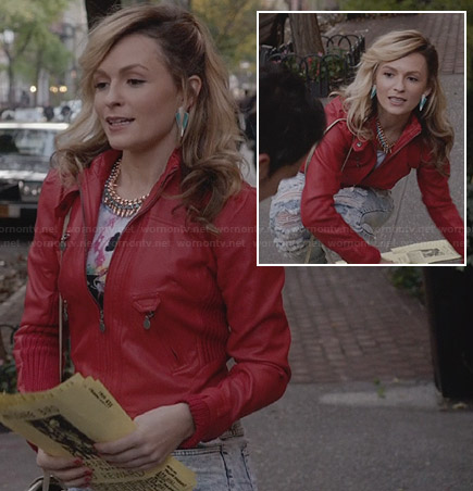 Samanta's red leather jacket and acid-wash ripped jeans on The Carrie Diaries
