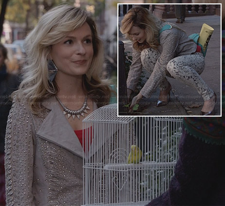 Samantha's taupe embellished jacket and lace jeans on The Carrie Diaries