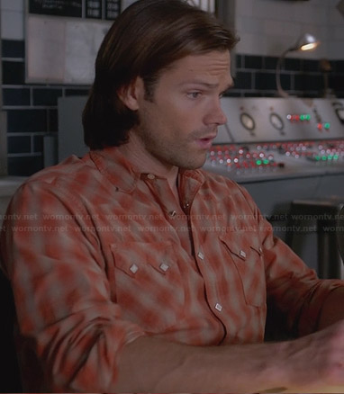 Sam's orange plaid shirt with sawtooth pockets on Supernatural