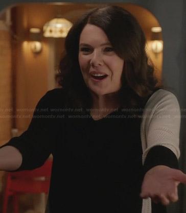 Sarah's black and cream asymmetric sweater on Parenthood