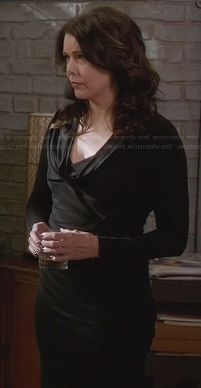 Sarah's black long sleeved cowl neck gown on Parenthood