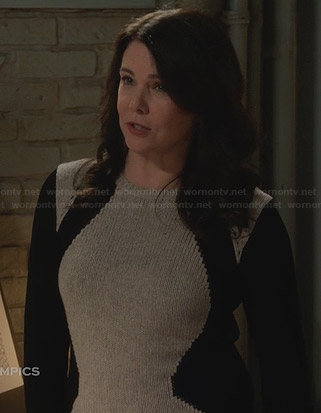 Sarah's grey and black colorblock sweater on Parenthood