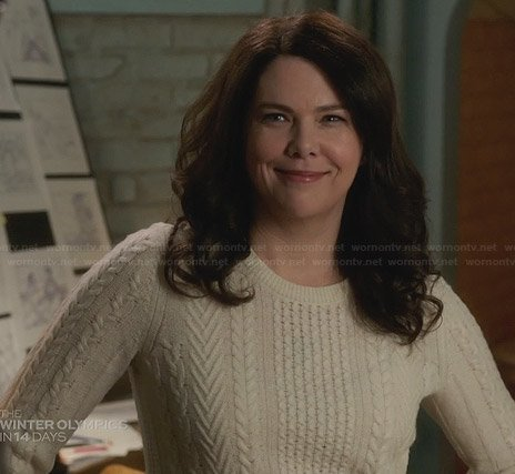 Sarah's white cable knit sweater on Parenthood