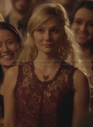 Scarlett's burgundy lace dress on Nashville