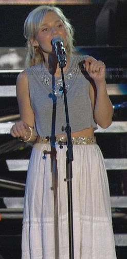 Scarlett's grey crop top and white maxi skirt on Nashville