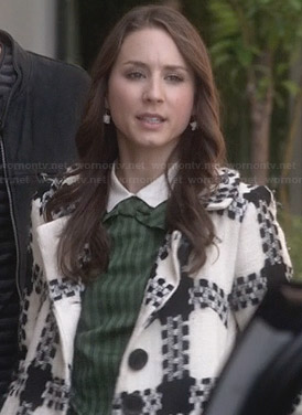 Spencer's black and white checked coat on Pretty Little Liars