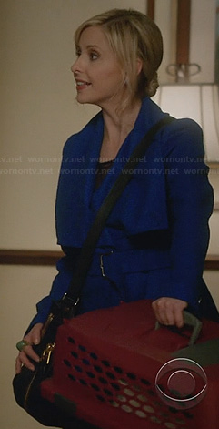 Sydney's blue belted coat on The Crazy Ones