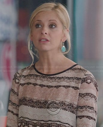 Sydney's pink lace print dress on The Crazy Ones