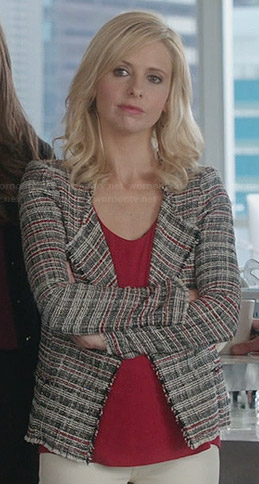 Sydney's grey and red tweed jacket on The Crazy Ones
