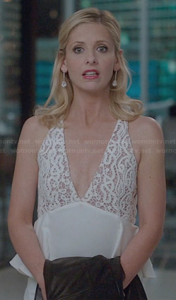 Sydney's white lace peplum dress on The Crazy Ones