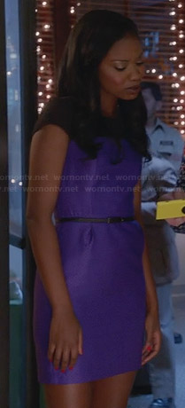 Tamra's purple christmas party dress on The Mindy Project