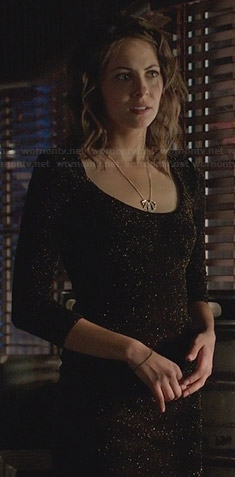 Thea's black mini lurex dress on Arrow