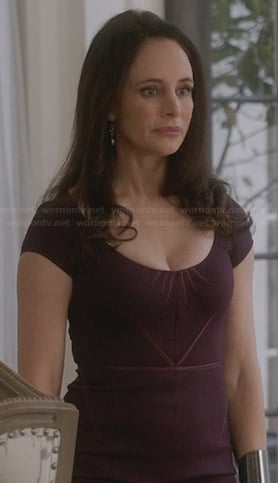 Victoria's purple cap sleeve dress on Revenge