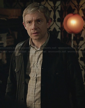 Watson's black corduroy jacket with leather shoulder on Sherlock