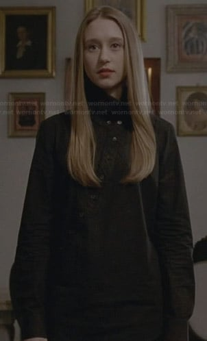Zoe's black asymmetric button front shirt on American Horror Story