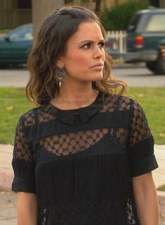 Zoe's black sheer striped top on Hart of Dixie