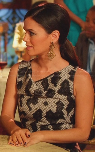 Zoe's black and white printed cowl neck dress on Hart of Dixie