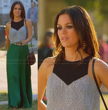 Zoe's green maxi skirt and grey and black panel top on Hart of Dixie