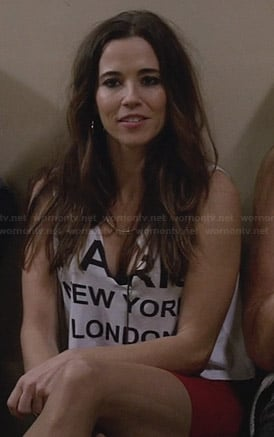 "Abby's ""Paris New York London Tokyo"" crop top on New Girl"