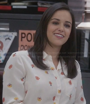 Amy's orange floral print shirt on Brooklyn 99