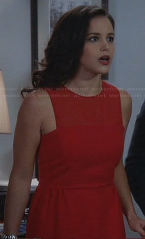 Amy's red illlusion dress on Brooklyn99