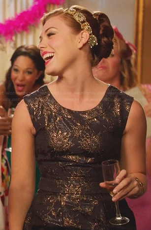 AnnaBeth's navy metallic dress on Hart of Dixie