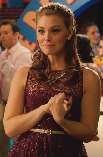 AnnaBeth's purple sequinned lace dress and leaf necklace on Hart of Dixie