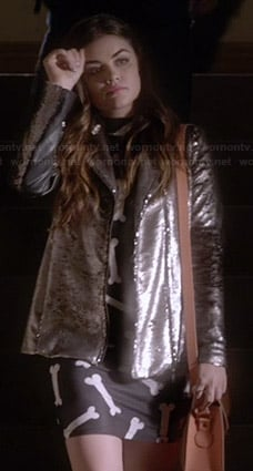 Aria's bone print dress and sequin jacket on Pretty Little Liars