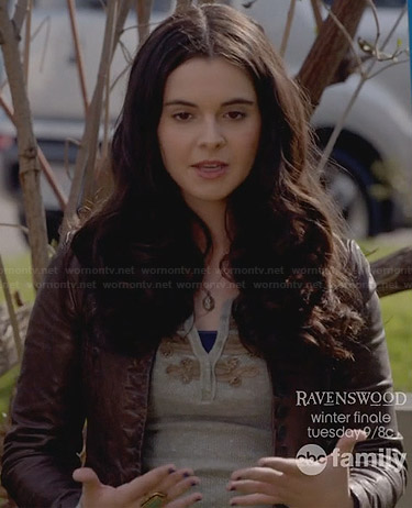 Bay's grey embellished henley top on Switched at Birth