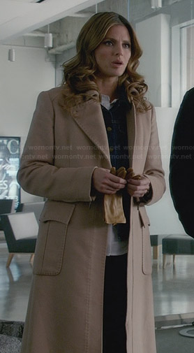 Kate's long beige coat on Castle
