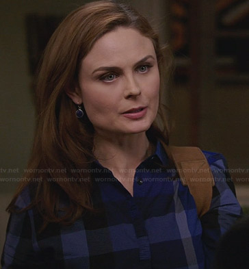 Brennan's blue checked shirt on Bones