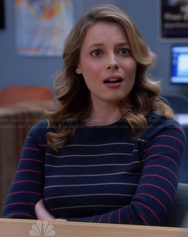 Britta's navy blue striped sweater on Community