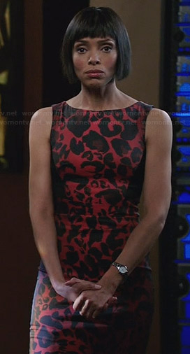 Camille's red leopard print dress on Bones