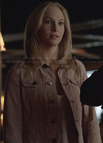 Caroline's pink denim jacket on The Vampire Diaries