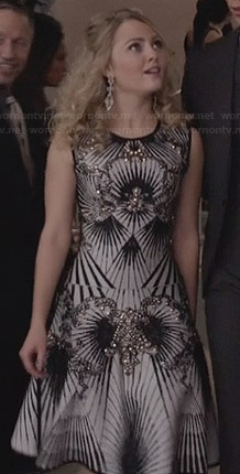 Carrie's black and white embellished dress on The Carrie Diaries