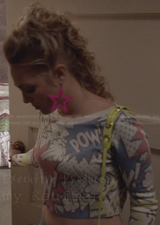 Carrie's comic crop sweater on The Carrie Diaries