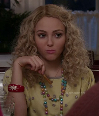 Carrie's yellow pearl flower embellished top on The Carrie Diaries