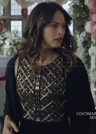 Cat's black beaded dress on BATB