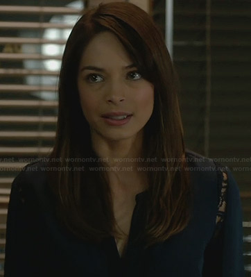 Cat's blue lace sleeve blouse on BATB
