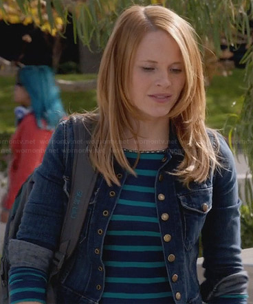 Daphne's blue striped top and denim jacket on Switched at Birth