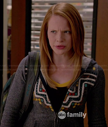 Daphne's grey embroidered hoodie on Switched at Birth