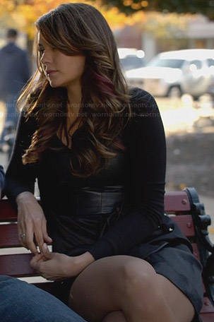 Katherine's black leather-top dress on The Vampire Diaries